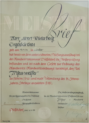 Meisterbrief A.Winterberg