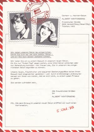 Umzug neuer Salon 1978