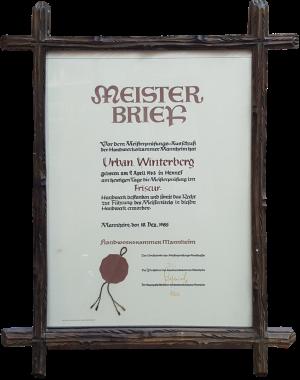 Meisterbrief Urban Winterberg 1985